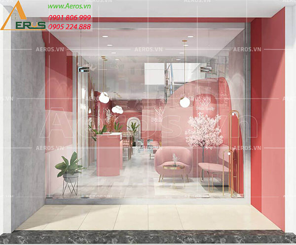 Thiết kế cửa hàng nail Pink Lady của chị Lan tại quận Bình Thạnh