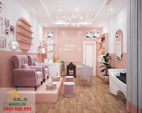 Thiết kế thi công nội thất cửa hàng nail Tati 289 của chị Tú tại quận 4, TP.HCM