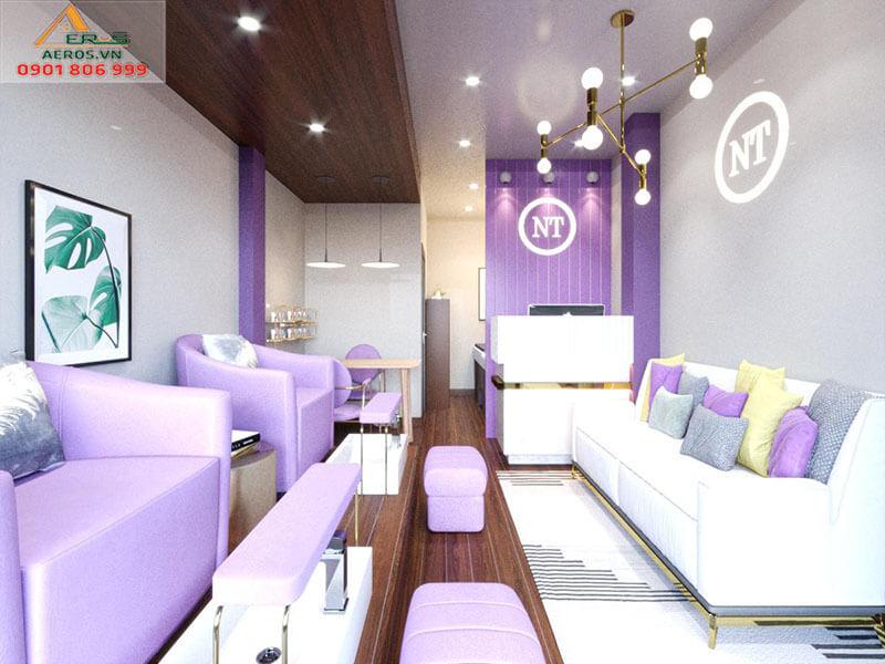 Thiết kế thi công tiệm nail & nối mi NT của chị Nguyên tại quận 12, TP.HCM